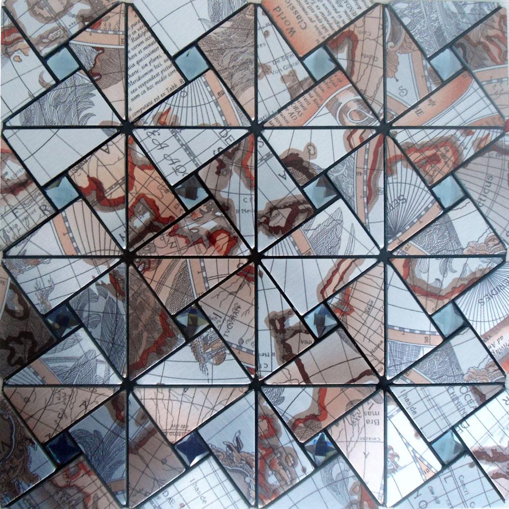 Peel and Stick Tile Pinwheel Patterns Aluminum Metal Wall Tile Glass Diamond Tiles Adhsive