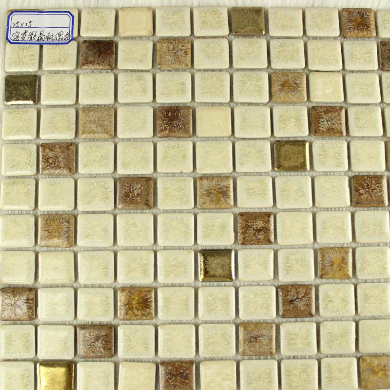 glazed porcelain square mosaic tiles design beige ceramic tile walls kitchen backsplash 10032