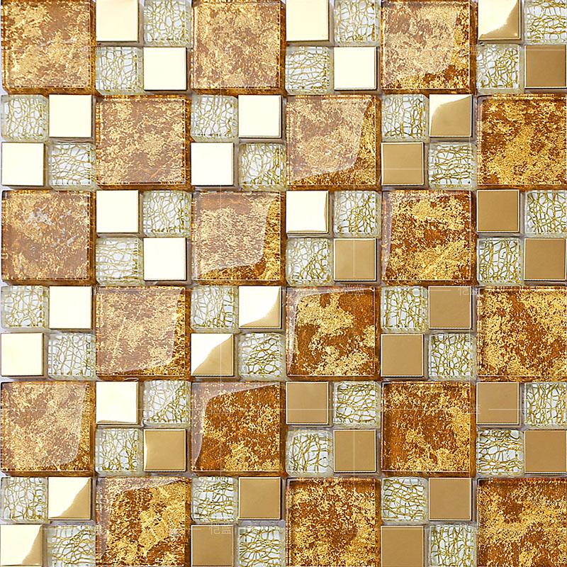 crystal glass mosaic plated tiles art design wall tile hall backsplashes stainless steel KLGTJ02