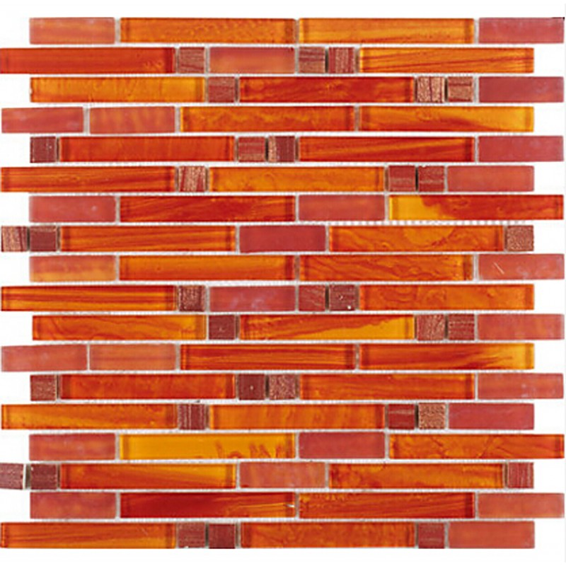 crystal glass red orange mosaic interlocking tile backsplash wall