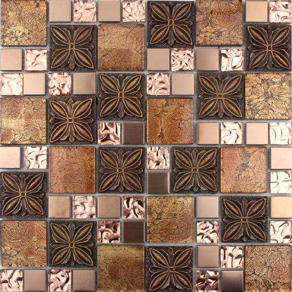 Brown Glass Mosaic Tile Kitchen Backsplash