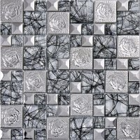 silver 304 stainless steel mosaic tile glass art mirror ...