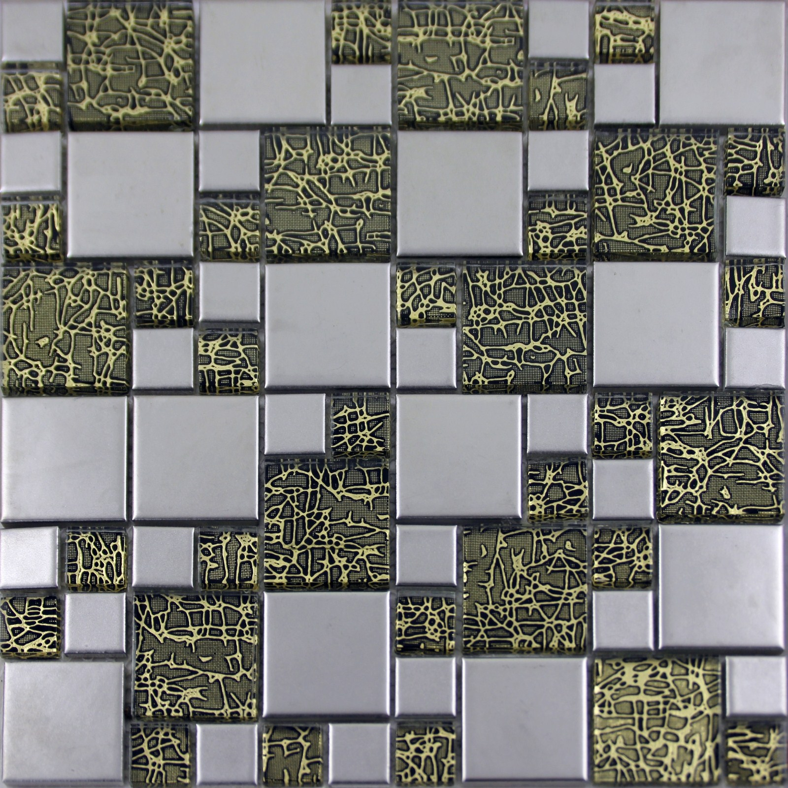 Silver Porcelain Square Mosaic Tile Designs Crystal Glass