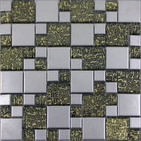 Silver Porcelain Square Mosaic Tile Designs Crystal Glass ...