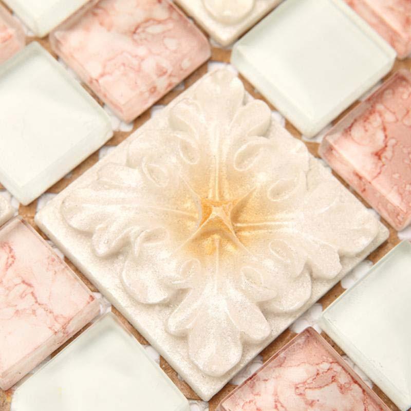 wholesale mosaic tile crystal glass backsplash bedroom design bathroom wall floor pink tiles europe classical