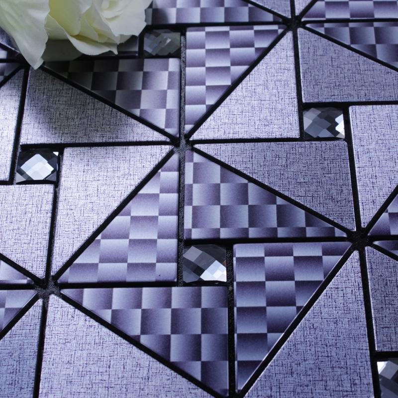 metallic mosaic tile grey square brushed aluminum panel metal wall decoration dining room mirror