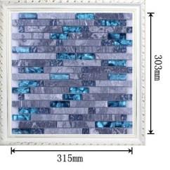 Metallic Kitchen Wall Tiles Servers Grey Marble Stone Blue Glass Mosaic Backsplash ...