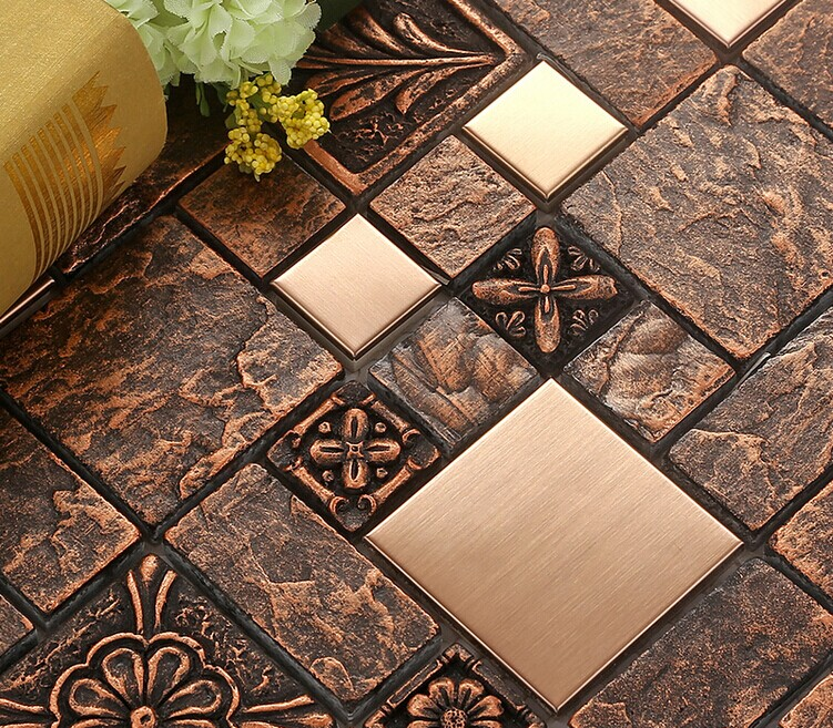 These days, the kitchen is the busiest room in most houses. Wholesale Porcelain tiles Square Mosaic Tile Design Metal tile flooring Kitchen Backsplashes BFCM08