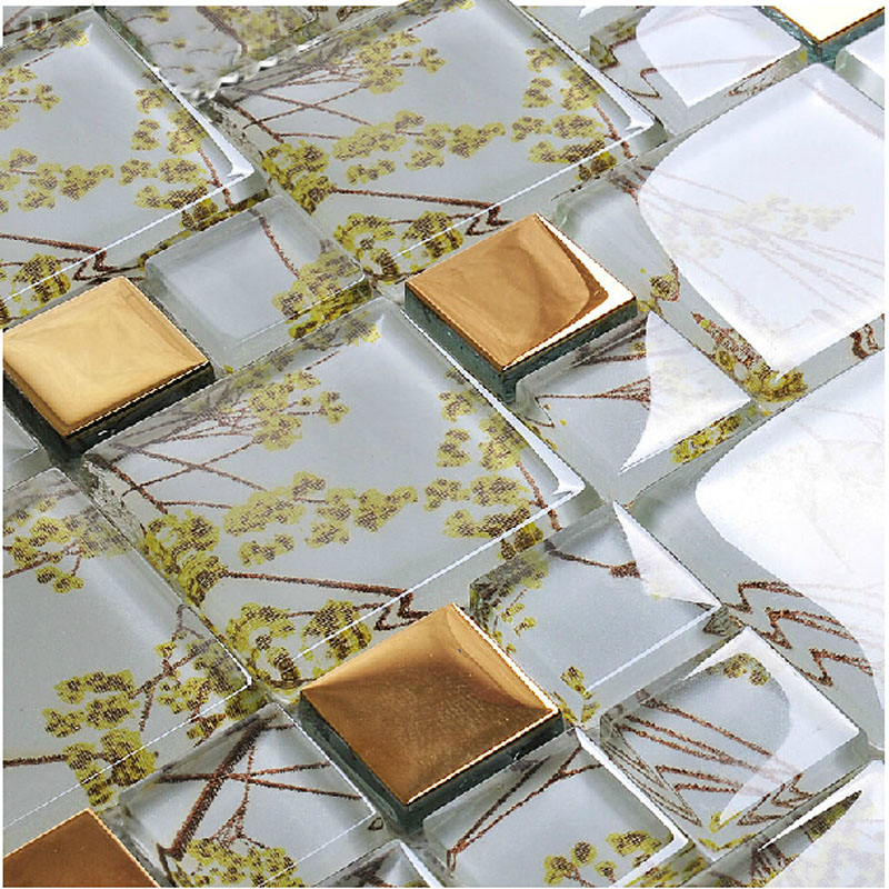 plated glass mosaic tile gold crystal glass tile backsplash bathroom designs kitchen wall tiles f206