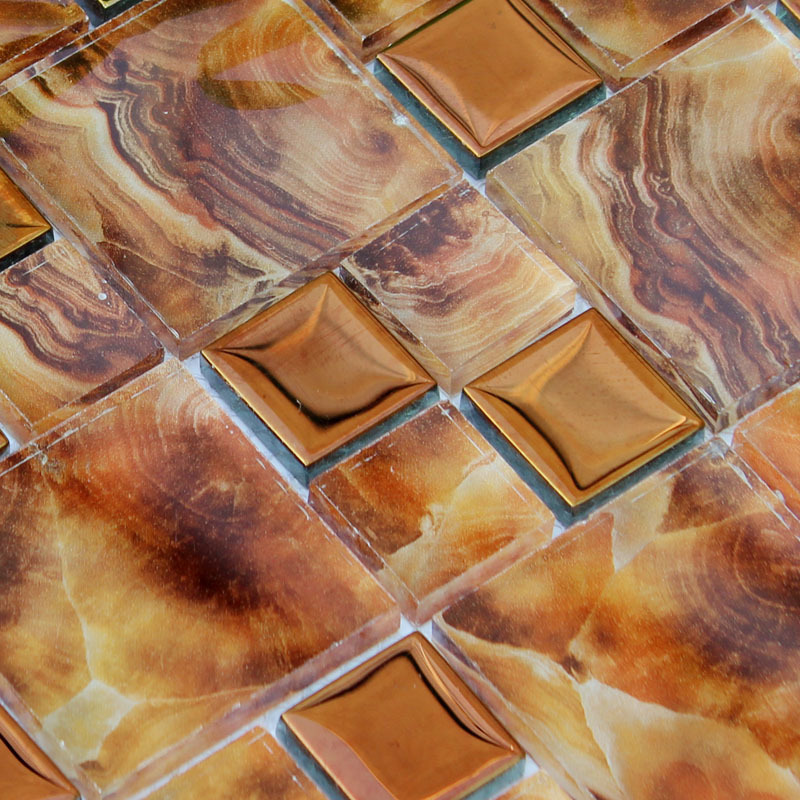 Crystal Glass Tile Kitchen Wall Tiles Metal Coating Tile
