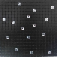 Adhesive Mosaic Tile Backsplash Black Aluminum Metal and