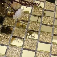 Mirror Tile Backsplash Gold Crystal Glass Mosaic Wall ...