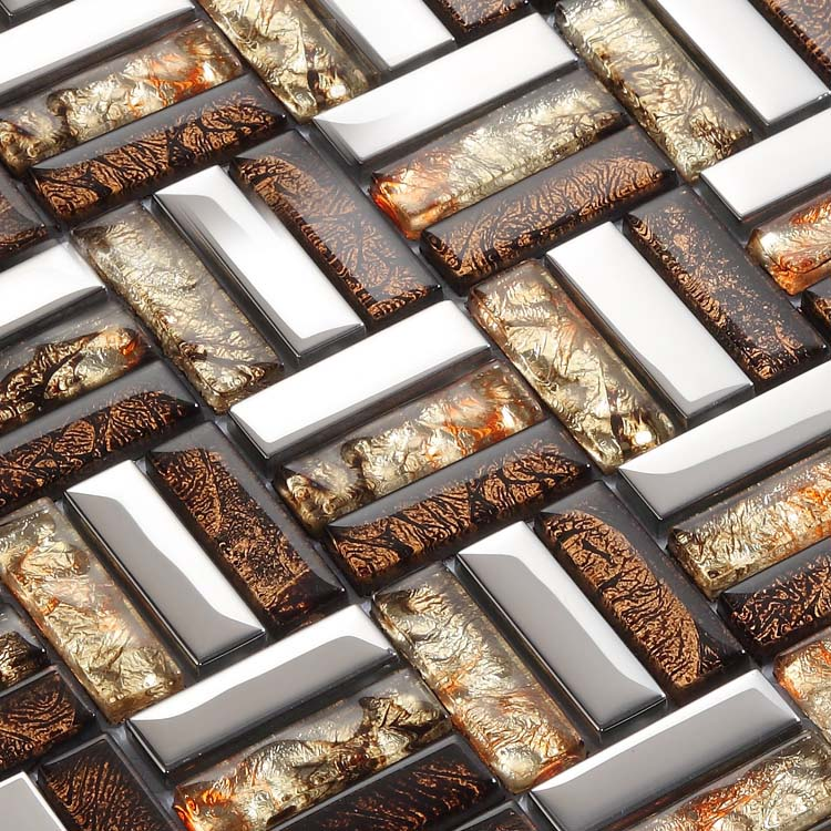 Wholesale Strip Glass Mosaic Tile Pattern Silver Stainless