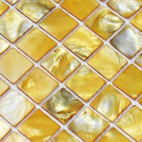 shell tiles 100% yellow seashell mosaic mother of pearl ...