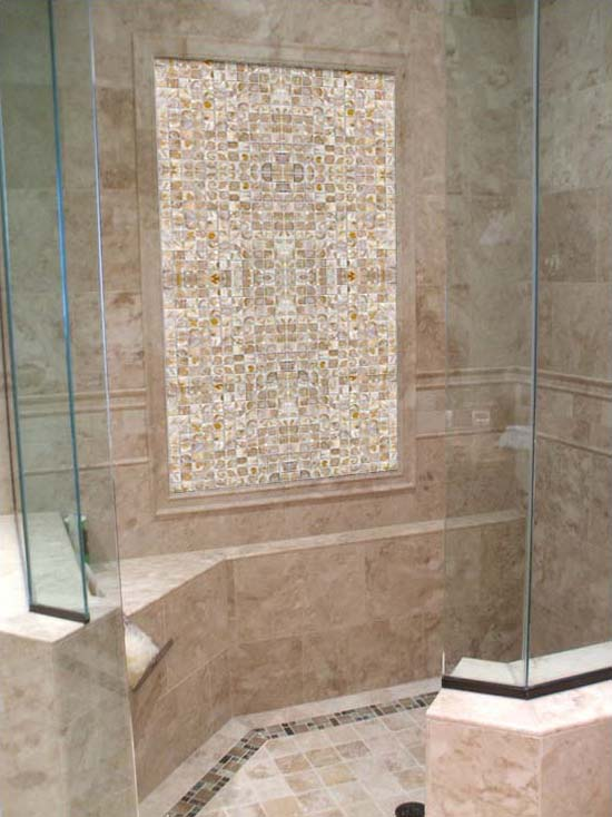 mother of pearl tile shower wall and