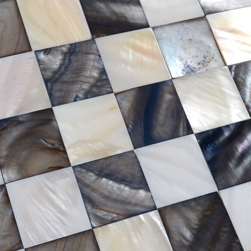 Shell Mosaic Tiles Black  White Mother of Pearl Tile