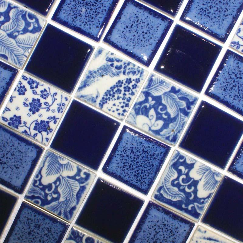 Porcelain Pool Tiles Floor Blue and White Tile Square