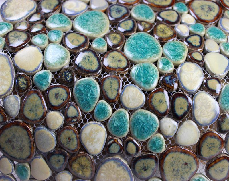 stick on backsplash tiles for kitchen bench seating glazed porcelain pebble mosaic wall designs ceramic ...