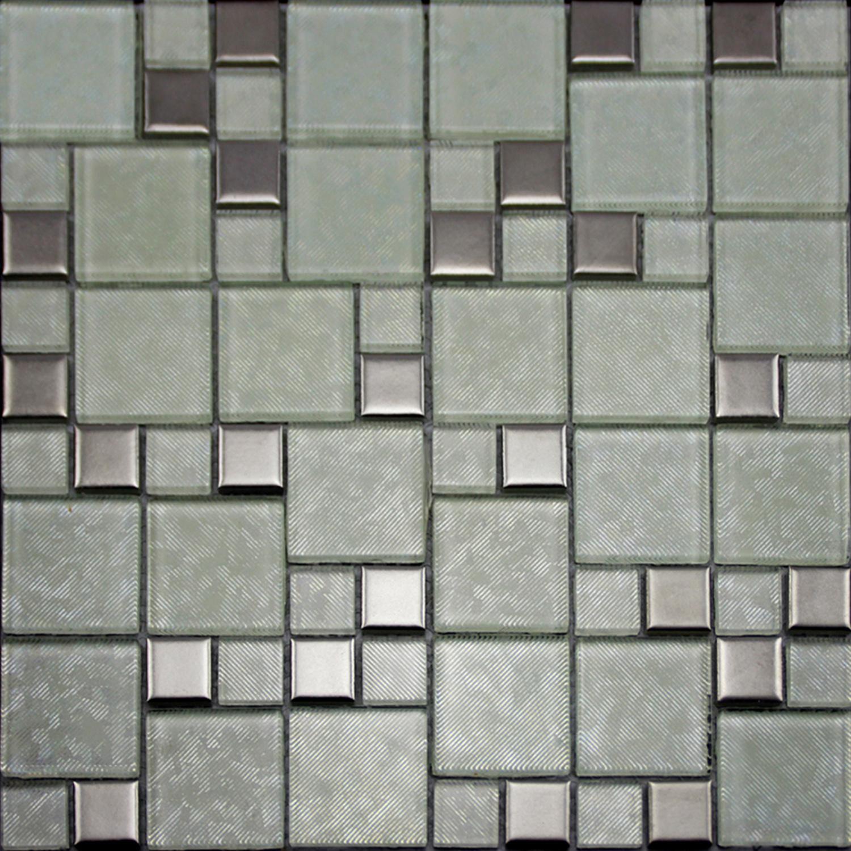 Crystal Glass Tiles Brushed Patterns Bathroom Wall Tile