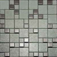 Crystal Glass Tiles Brushed Patterns Bathroom Wall Tile