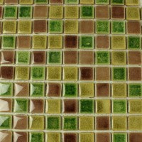 Green Porcelain Square Mosaic Tiles Wall Glazed Ceramic ...