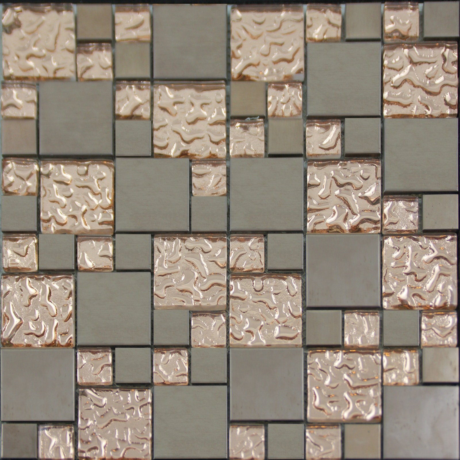 Copper Glass and Porcelain Square Mosaic Tile Designs Plated Ceramic Wall Tiles Wall Kitchen