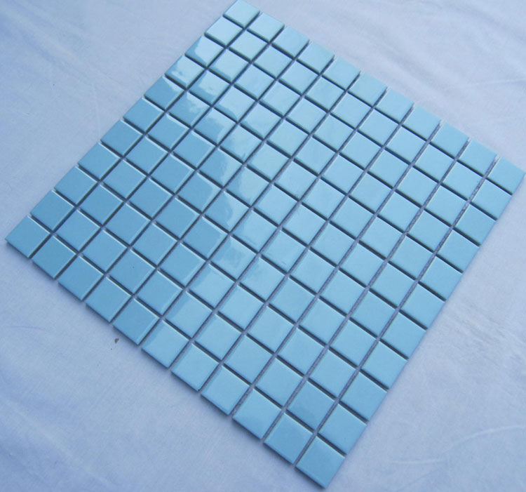Glazed Porcelain Square Mosaic Tiles Design Blue Ceramic