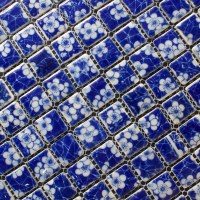 Porcelain Mosaic White and Blue Tile Snowflake Patterns ...