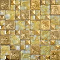 gold 304 stainless steel mosaic tile glass art mirror wall ...