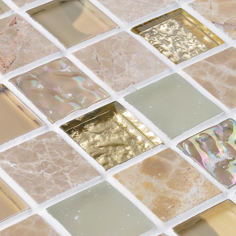 crystal glass mirror tile backsplash stone glass blend mosaic wall tiles