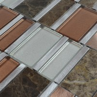 Stone and Glass Tile Silver Aluminum Metal Wall Tiles