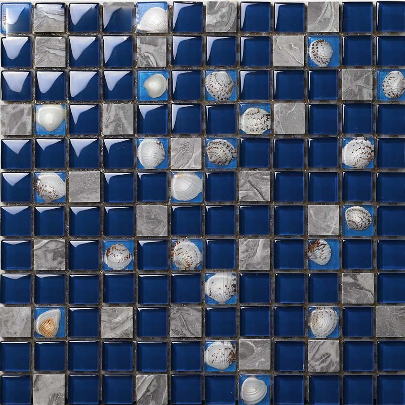 Dark Blue Glass Mosaic Glossy Tile Resin Shell Gray Stone