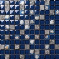 Dark Blue Glass Mosaic Glossy Tile Resin Shell Gray Stone ...