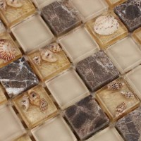 Light Gold Glass Mosaic Resin Conch Shell Marble Tile Wall ...