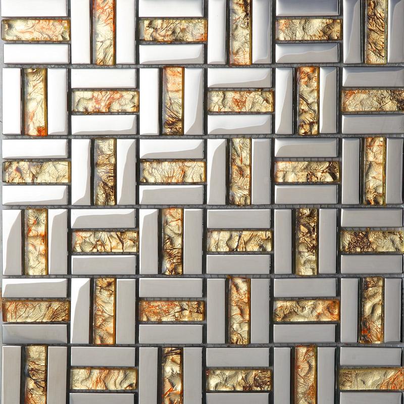 wholesale strip glass mosaic wall tile gold silver mixed crystal metal coating tiles discount tile backsplash
