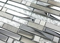 Silver Stainless Steel and Glass Tile Textured Marble ...
