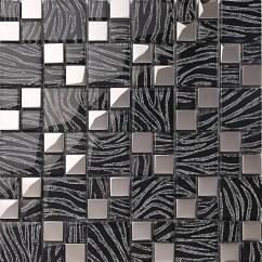 Backsplash Stick On Tiles Kitchen Oak Cabinets Silver With Black Crystal Glass Mosaic Plated ...