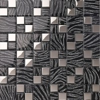 silver with black crystal glass mosaic tiles plated glass ...