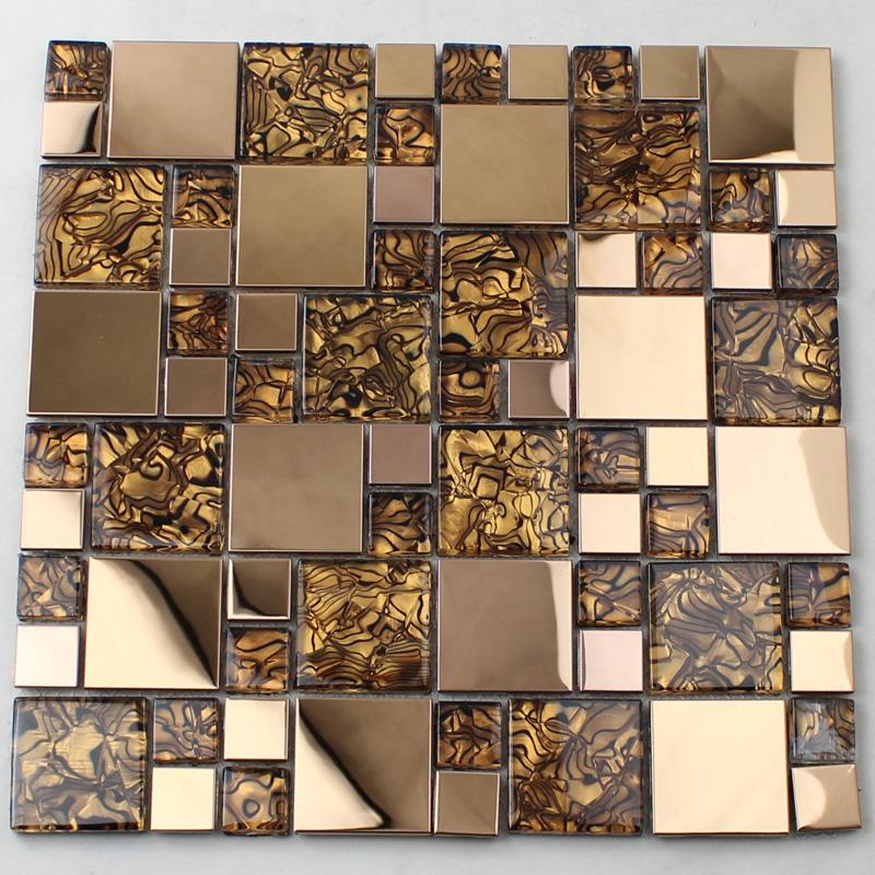 gold glass mosaic tile backsplash stainless steel metal crystal tile