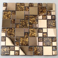 Gold Glass Mosaic Tile Backsplash Stainless Steel Metal ...