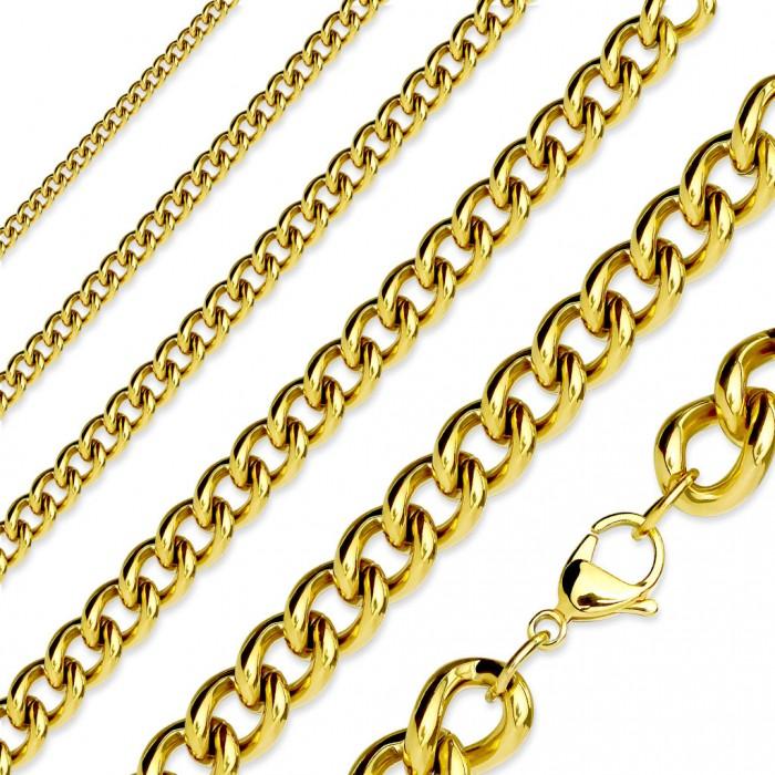 chaine collier pour homme plaque or maillons maille cubaine 60cm
