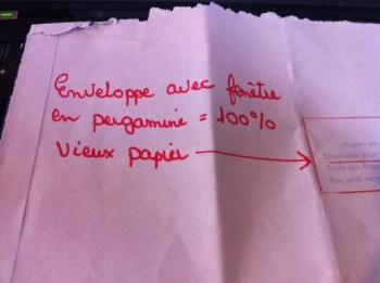 Enveloppe en pergamine inscription