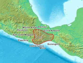 Ubicación de los zapotecos