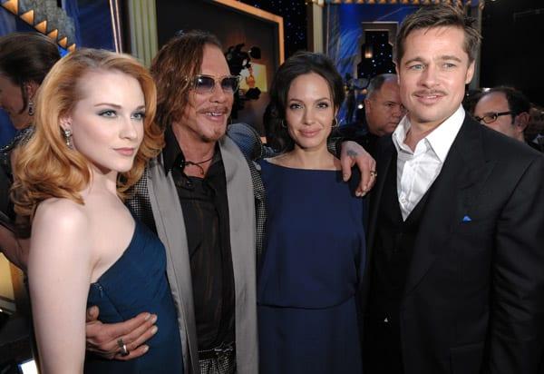 Evan Rachel Wood, Mickey Rourke, Angelina Jolie y Brad Pitt en los Screen Actors Guild Awards del 2009
