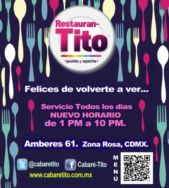 Cabaré-Tito, uno de los principales antros gay de Zona Rosa, ahora es Restauran-Tito