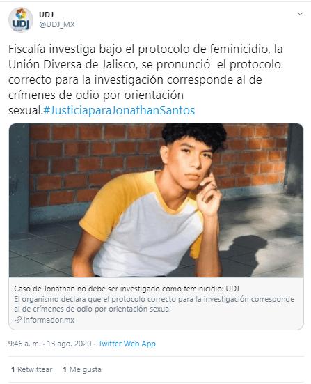 Tuit de la Unión Diversa Jalisco sobre el caso de Jonathan Santos