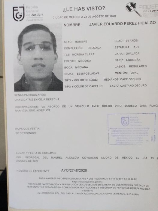 Alerta de la Fiscalía sobre la desaparición de Javier Pérez