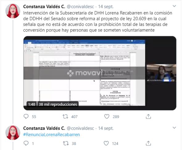Tuit de la activista Constanza Valdés sobre las declaraciones de Lorena Recabarren