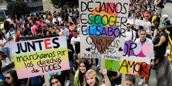 Protesta por el matrimonio igualitario en Colombia.