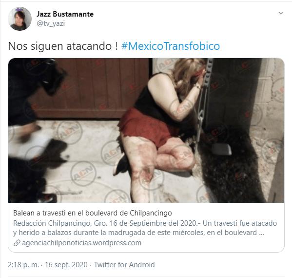 tuit sobre ataque transfóbico